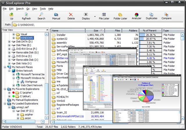 Powerful disk space usage analyzer with folder size, charts and clickable report